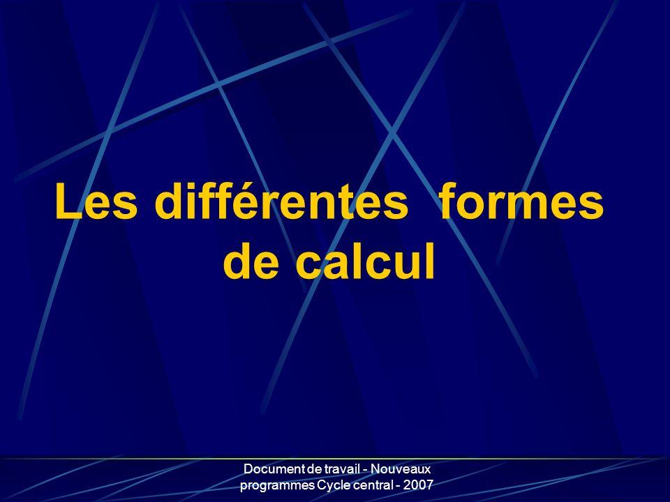 Les différentes formes de calcul