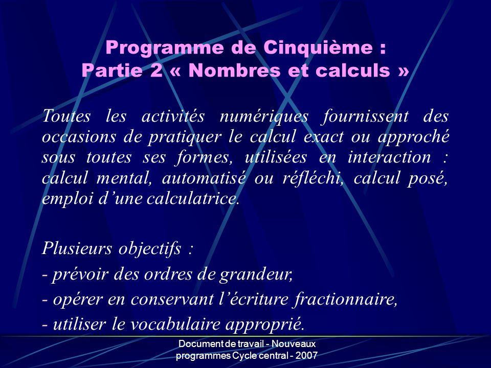 Programme de Cinquième : Partie 2 « Nombres et calculs »