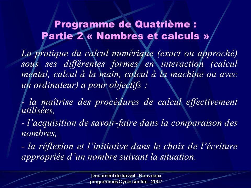 Programme de Quatrième : Partie 2 « Nombres et calculs »