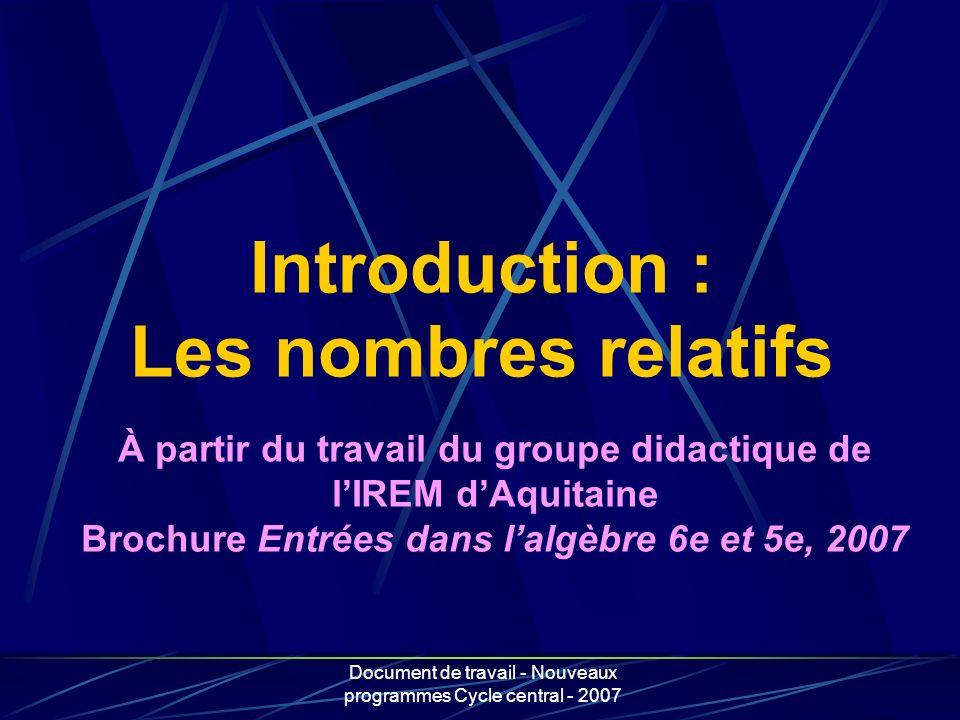 Introduction : Les nombres relatifs