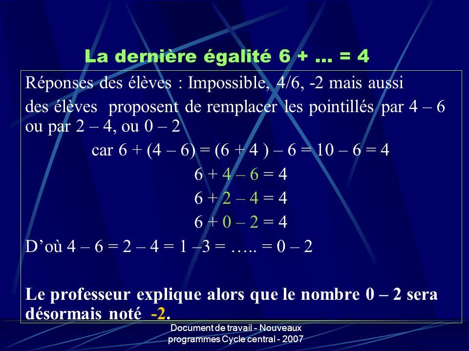 La dernière égalité 6 + … = 4