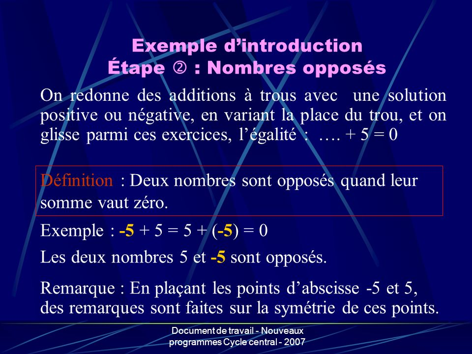 Exemple d'introduction Étape  : Nombres opposés