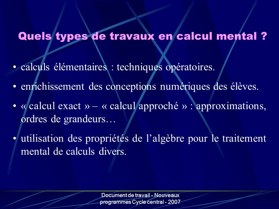 Quels types de travaux en calcul mental