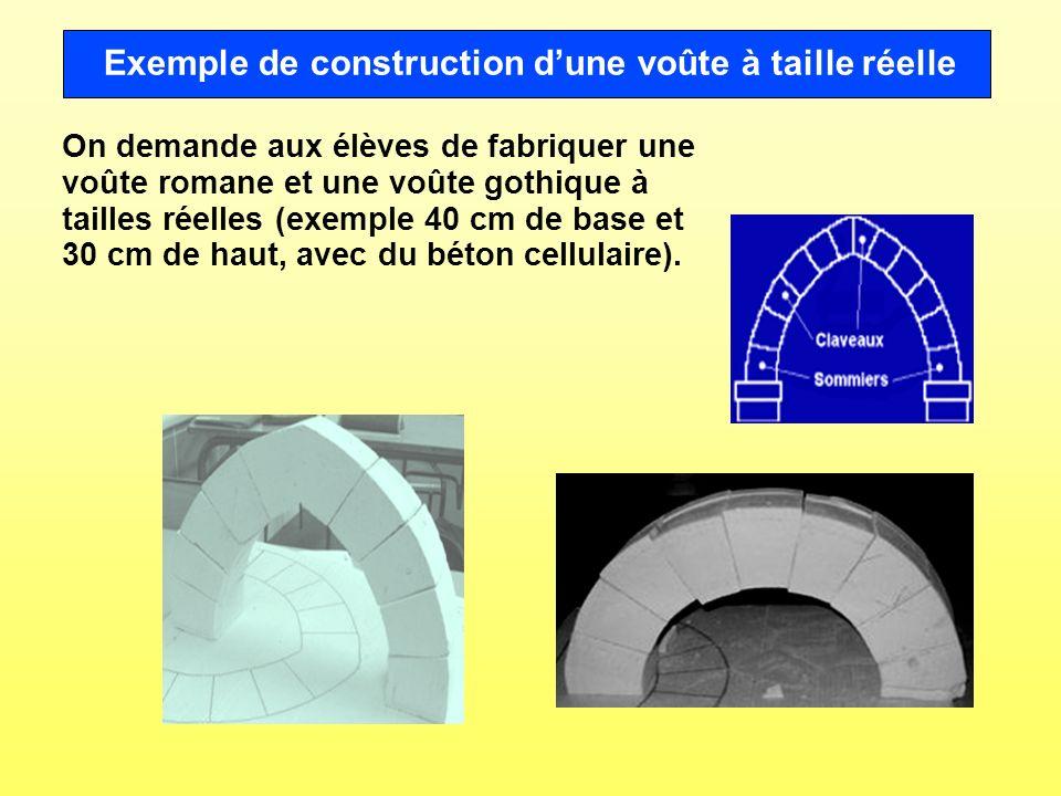 Exemple de construction d'une voûte à taille réelle