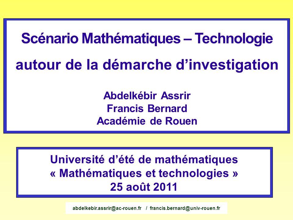 Scénario Mathématiques – Technologie autour de la démarche d'investigation