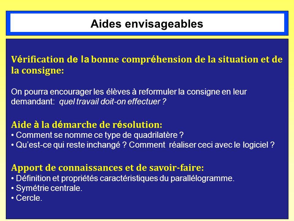 Aides envisageables Vérification de la bonne compréhension de la situation et de la consigne:
