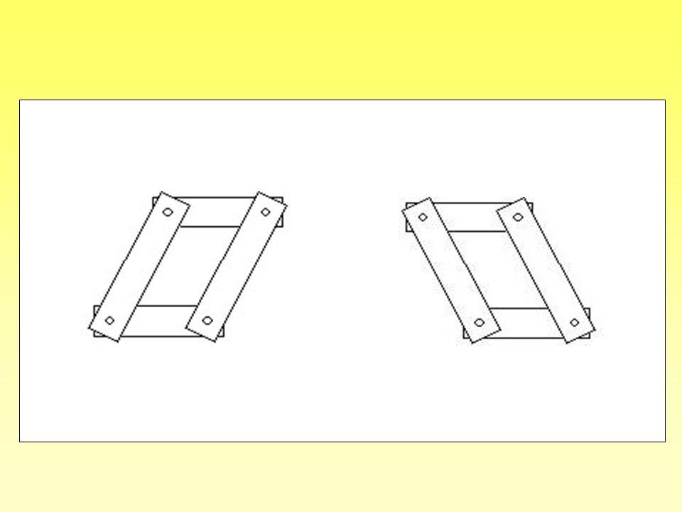 On constate que le cadre peut être déformé par une poussée vers la droite (dessin de gauche) ou par une poussée vers la gauche (dessin de droite).