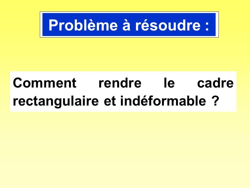 Problème à résoudre : Comment rendre le cadre rectangulaire et indéformable
