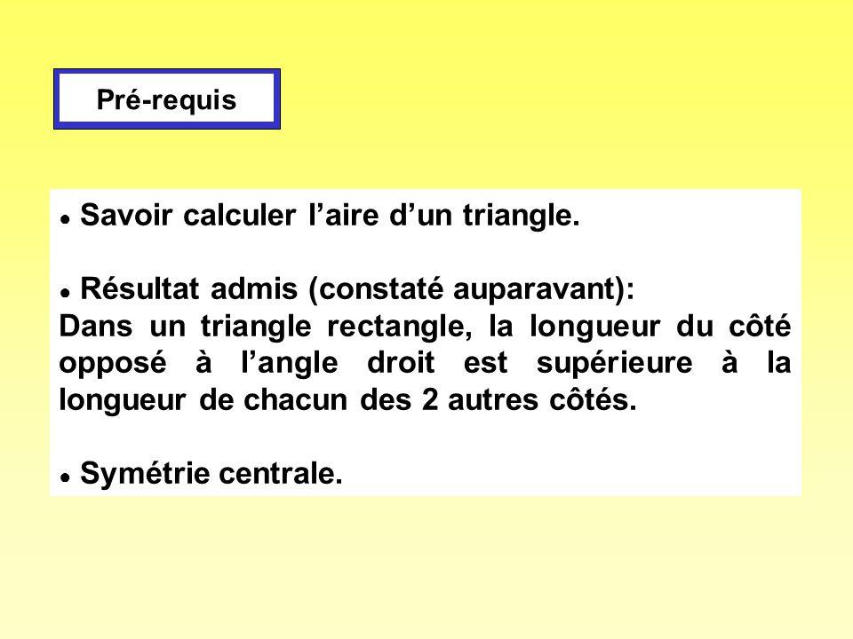 Pré-requis ● Savoir calculer l'aire d'un triangle. ● Résultat admis (constaté auparavant):