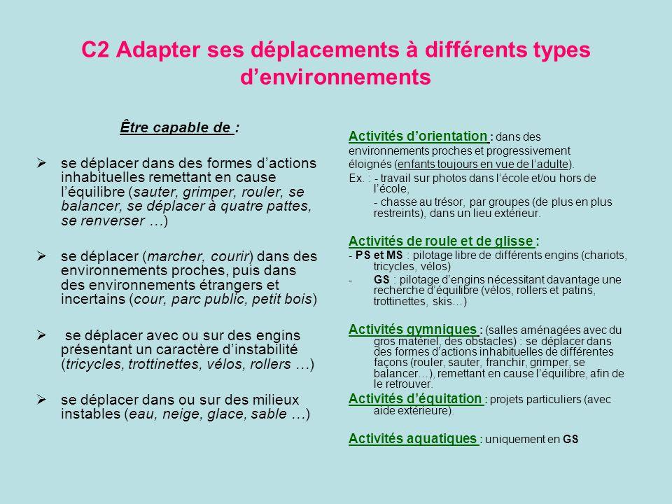 C2 Adapter ses déplacements à différents types d'environnements