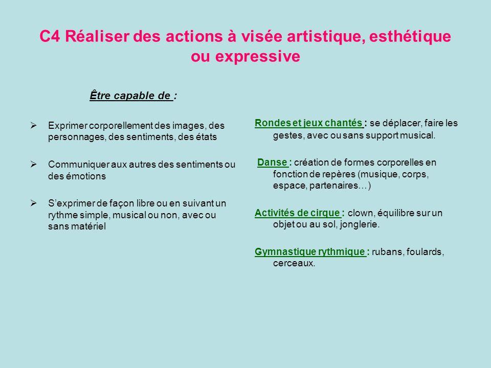 C4 Réaliser des actions à visée artistique, esthétique ou expressive