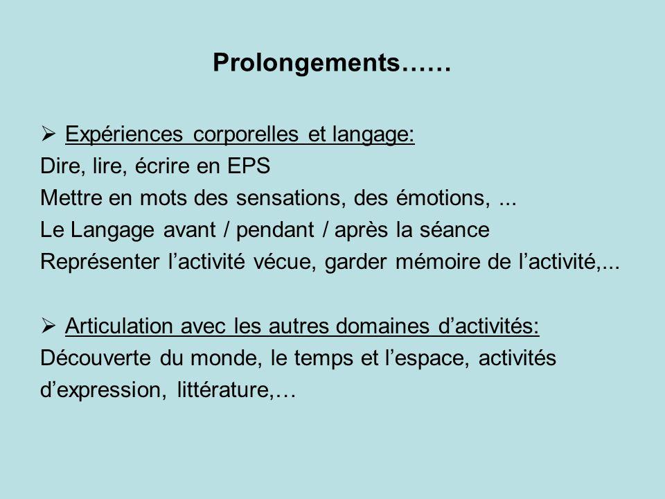 Prolongements…… Expériences corporelles et langage:
