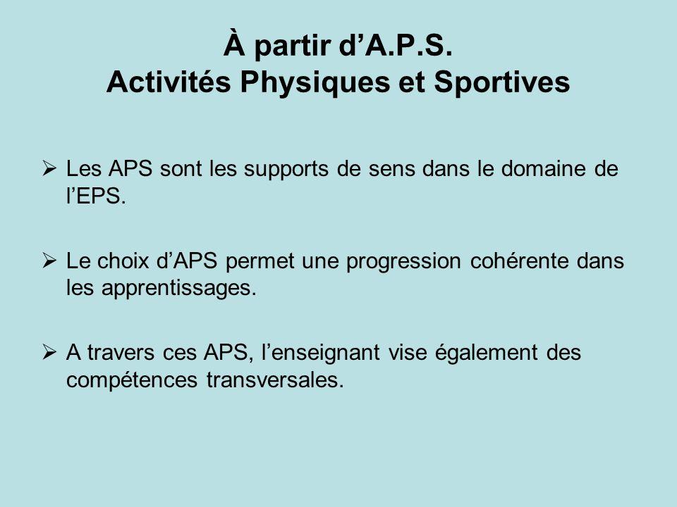 À partir d'A.P.S. Activités Physiques et Sportives
