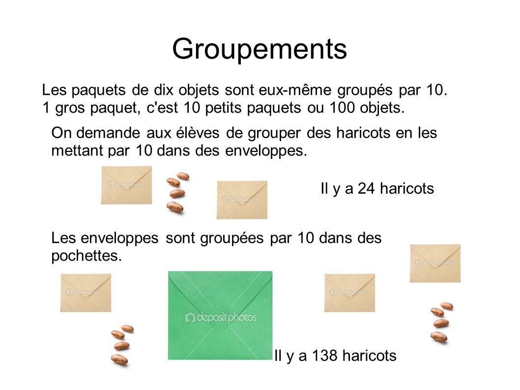 Groupements Les paquets de dix objets sont eux-même groupés par 10.