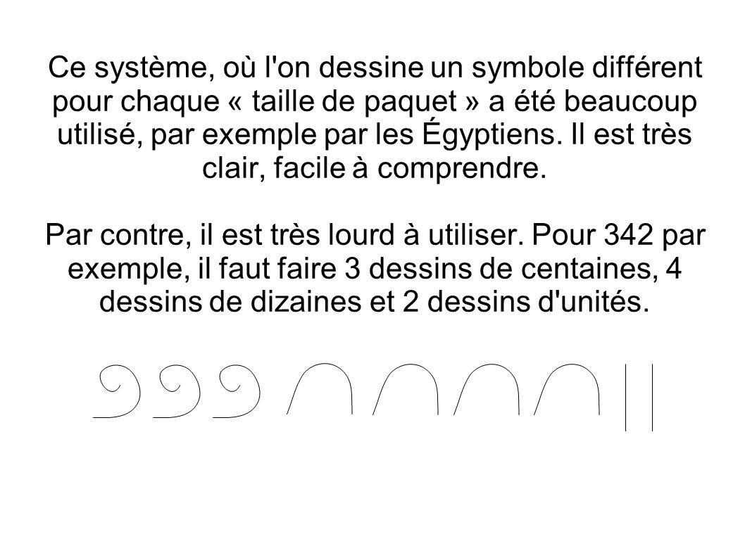 Ce système, où l on dessine un symbole différent pour chaque « taille de paquet » a été beaucoup utilisé, par exemple par les Égyptiens. Il est très clair, facile à comprendre.