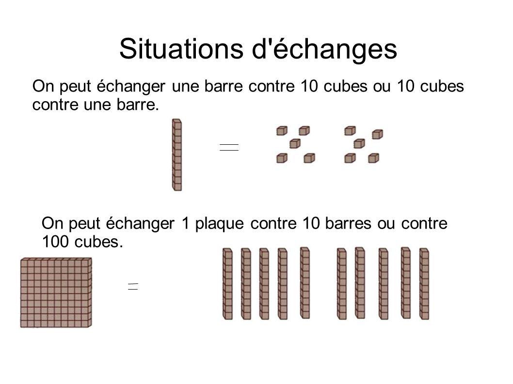 Situations d échanges On peut échanger une barre contre 10 cubes ou 10 cubes contre une barre.