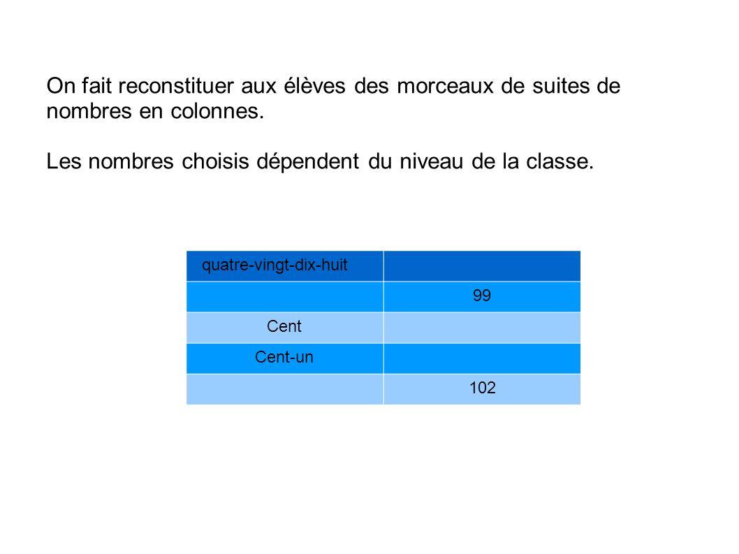 Les nombres choisis dépendent du niveau de la classe.