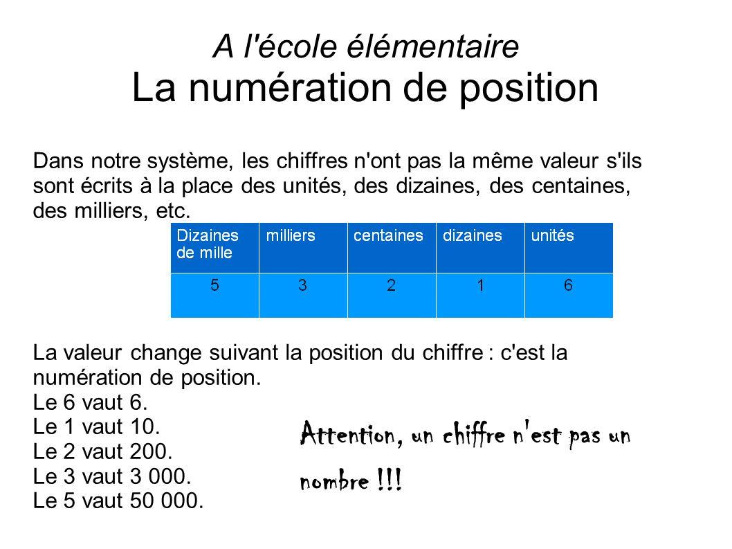 A l école élémentaire La numération de position