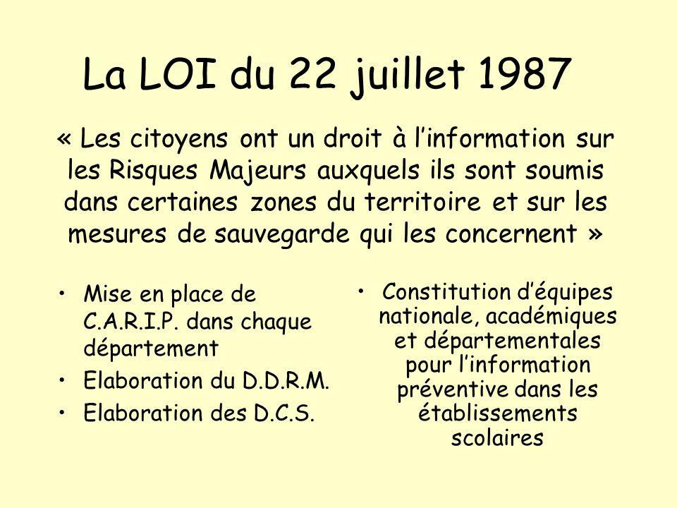 La LOI du 22 juillet 1987