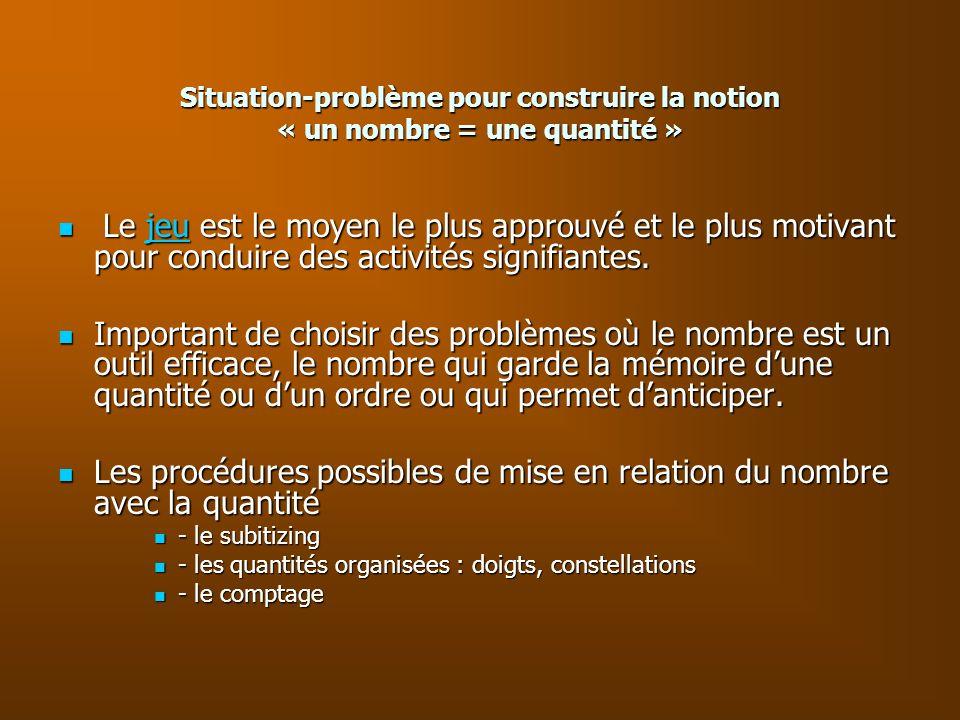 Situation-problème pour construire la notion « un nombre = une quantité »