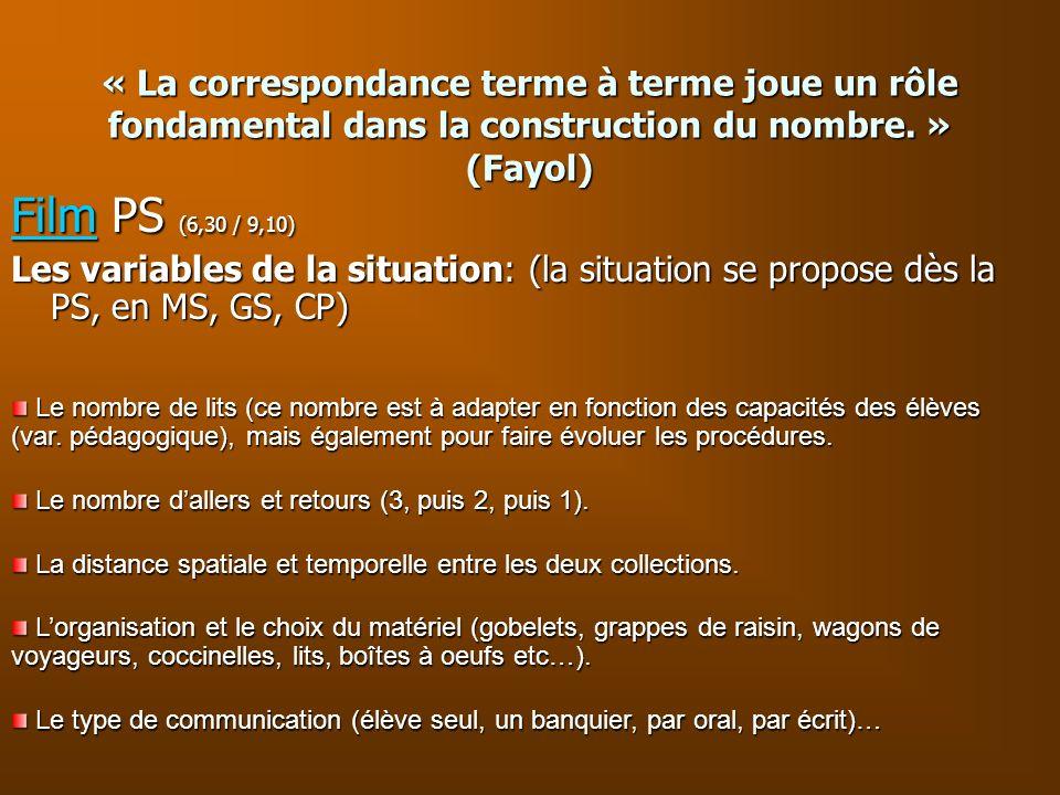 « La correspondance terme à terme joue un rôle fondamental dans la construction du nombre. » (Fayol)