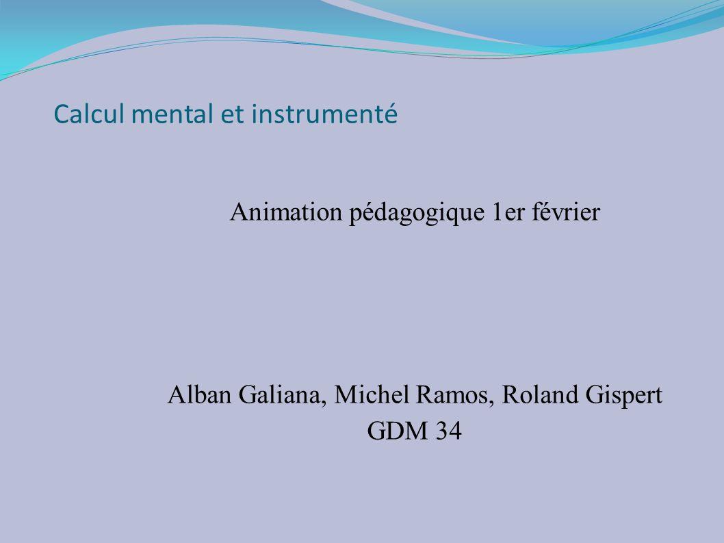 Calcul mental et instrumenté
