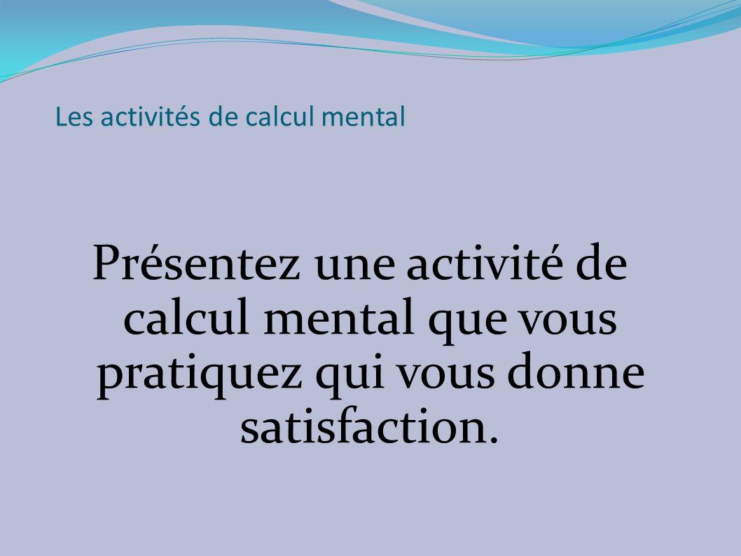 Les activités de calcul mental