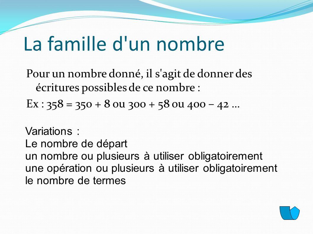 La famille d un nombrePour un nombre donné, il s agit de donner des écritures possibles de ce nombre : Ex : 358 = 350 + 8 ou 300 + 58 ou 400 – 42 …