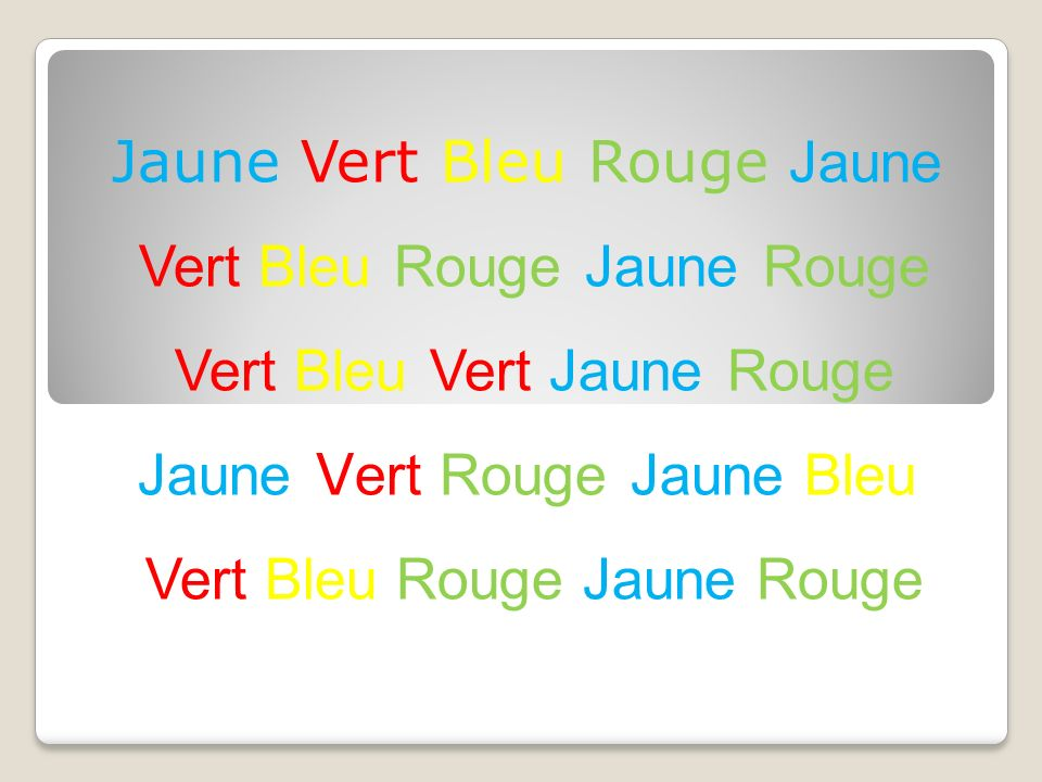 Jaune Vert Bleu Rouge Jaune Vert Bleu Rouge Jaune Rouge