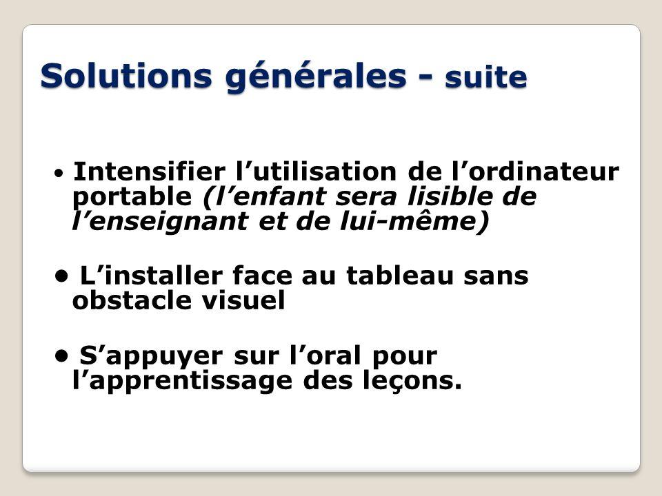 Solutions générales - suite