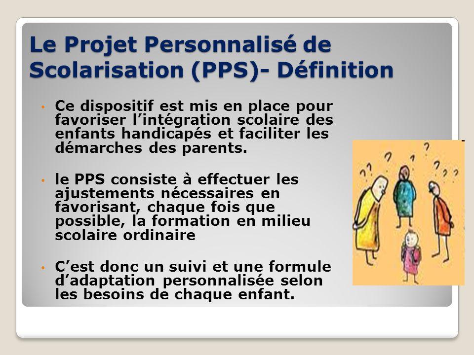 Le Projet Personnalisé de Scolarisation (PPS)- Définition