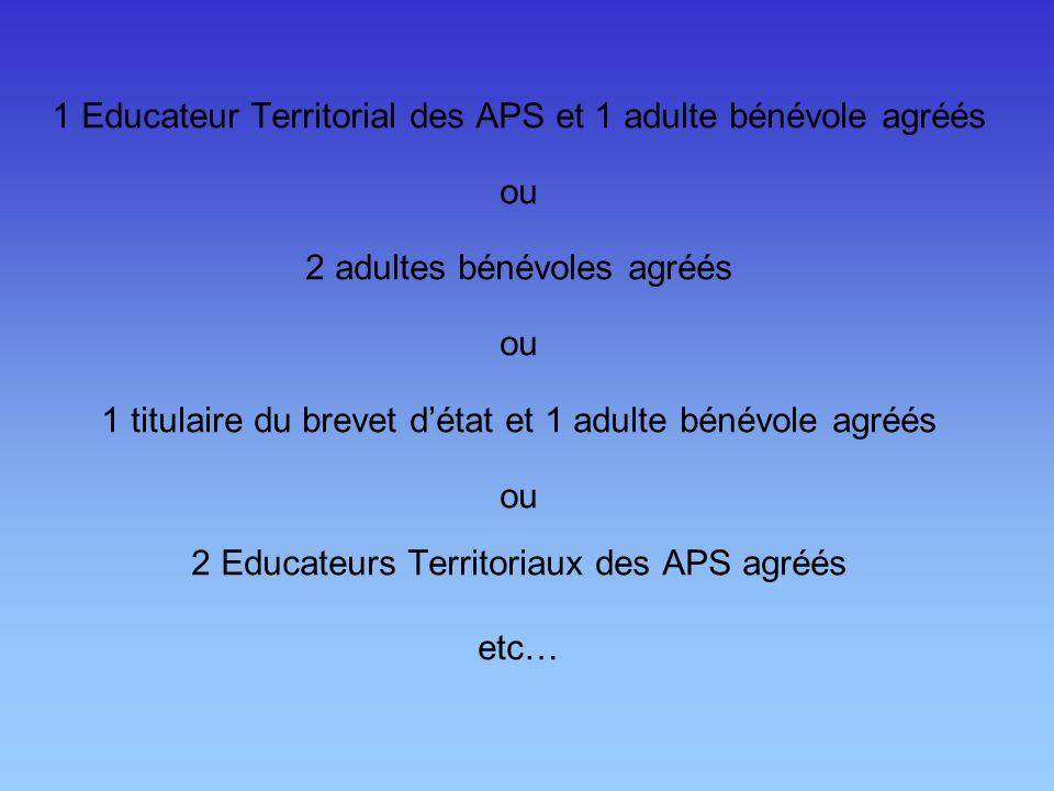 1 Educateur Territorial des APS et 1 adulte bénévole agréés ou