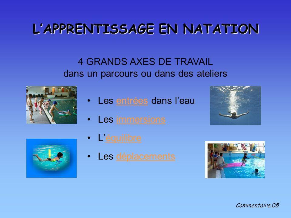 L'APPRENTISSAGE EN NATATION