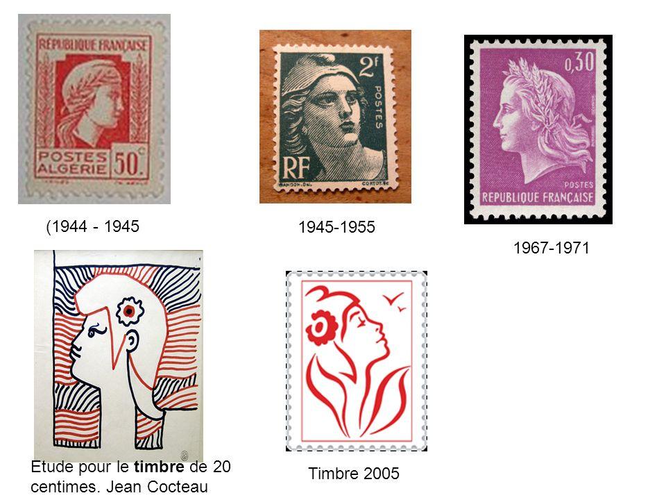 (1944 - 1945 1945-1955 1967-1971 Etude pour le timbre de 20 centimes. Jean Cocteau Timbre 2005