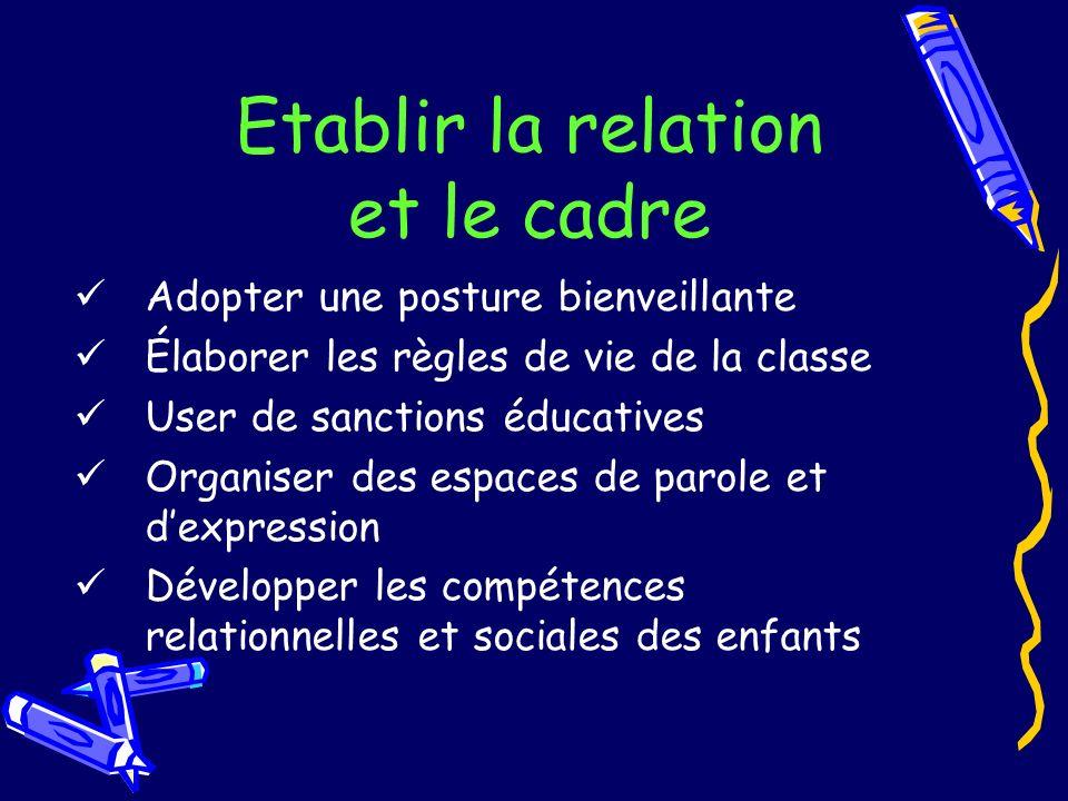 Etablir la relation et le cadre