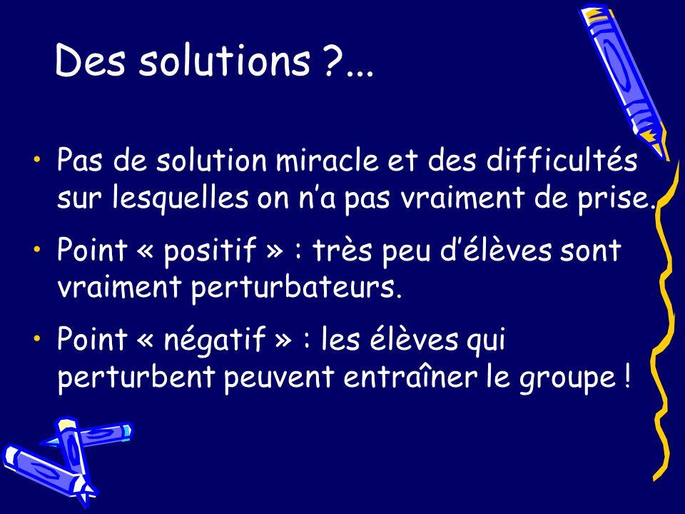 Des solutions ... Pas de solution miracle et des difficultés sur lesquelles on n'a pas vraiment de prise.