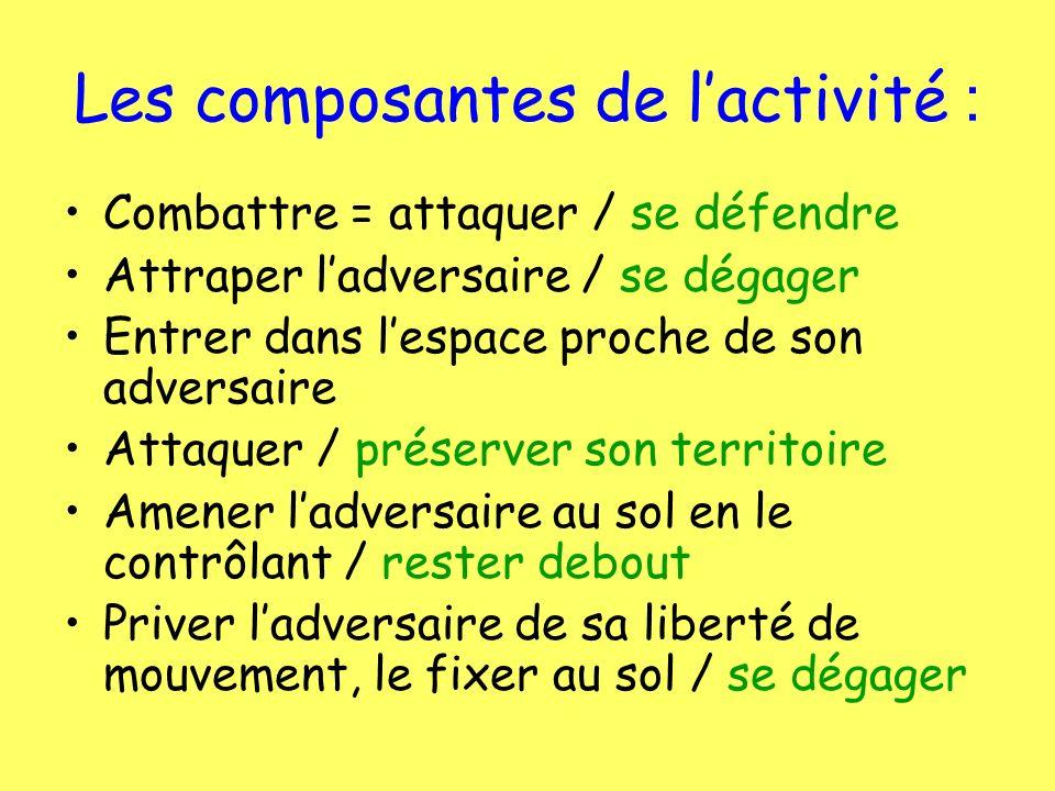 Les composantes de l'activité :