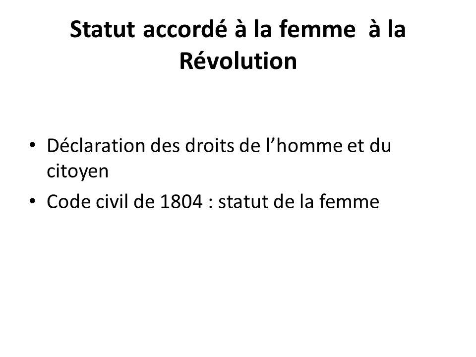 Statut accordé à la femme à la Révolution