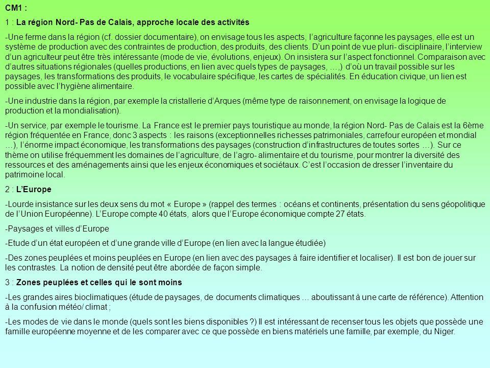 CM1 : 1 : La région Nord- Pas de Calais, approche locale des activités.
