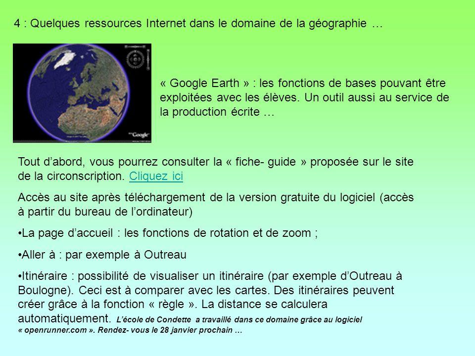 4 : Quelques ressources Internet dans le domaine de la géographie …