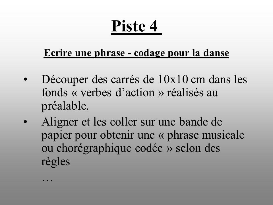 Ecrire une phrase - codage pour la danse