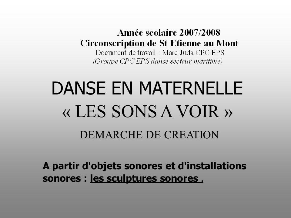 DANSE EN MATERNELLE « LES SONS A VOIR » DEMARCHE DE CREATION
