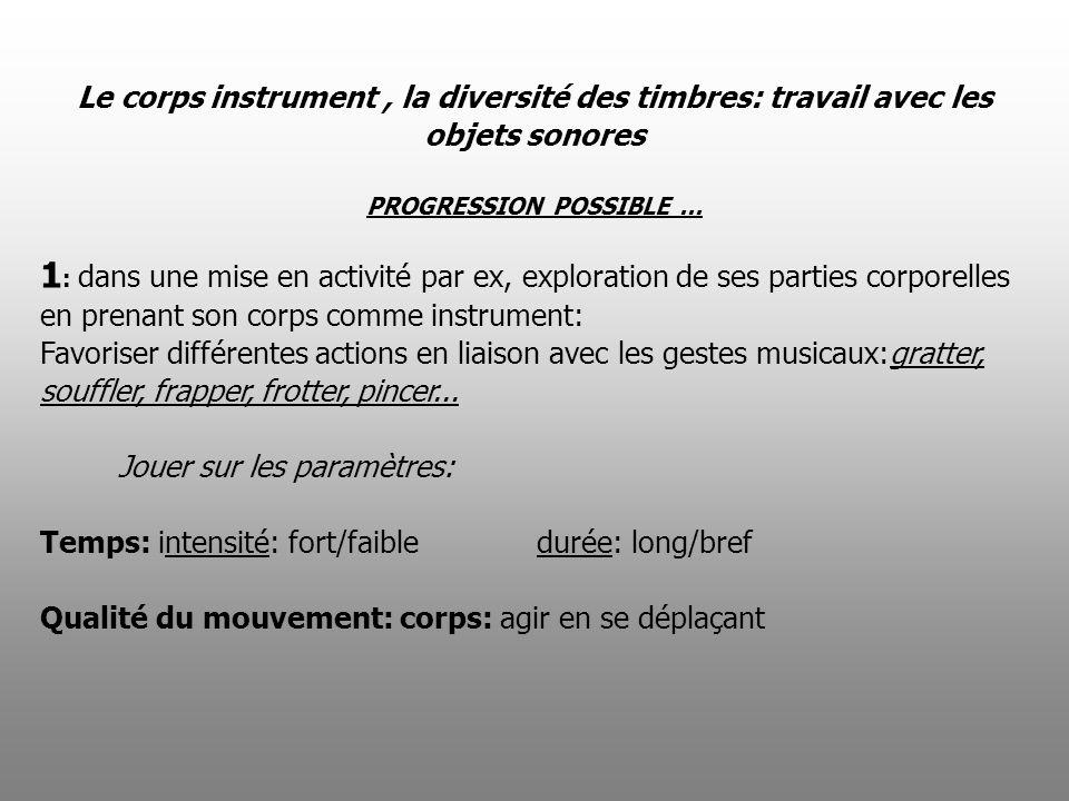 Le corps instrument , la diversité des timbres: travail avec les objets sonores