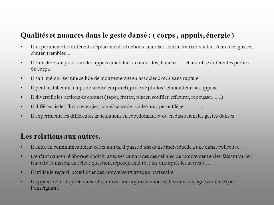 Qualités et nuances dans le geste dansé : ( corps , appuis, énergie )