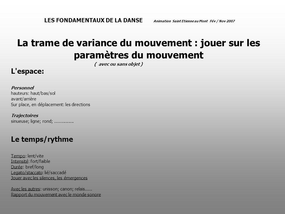 LES FONDAMENTAUX DE LA DANSE Animation Saint Etienne au Mont Fév / Nov 2007