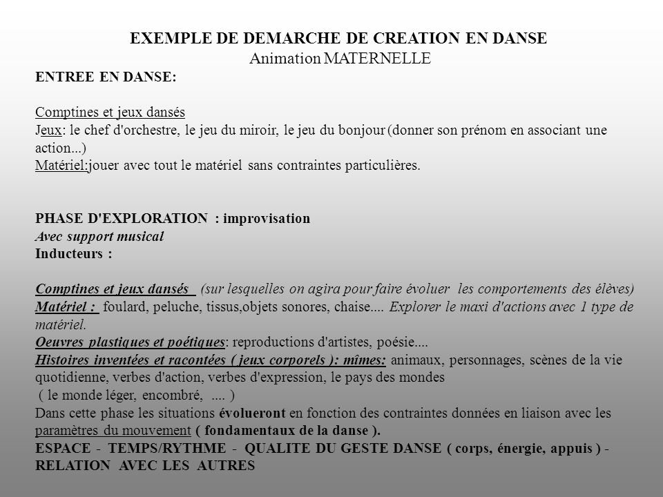 EXEMPLE DE DEMARCHE DE CREATION EN DANSE