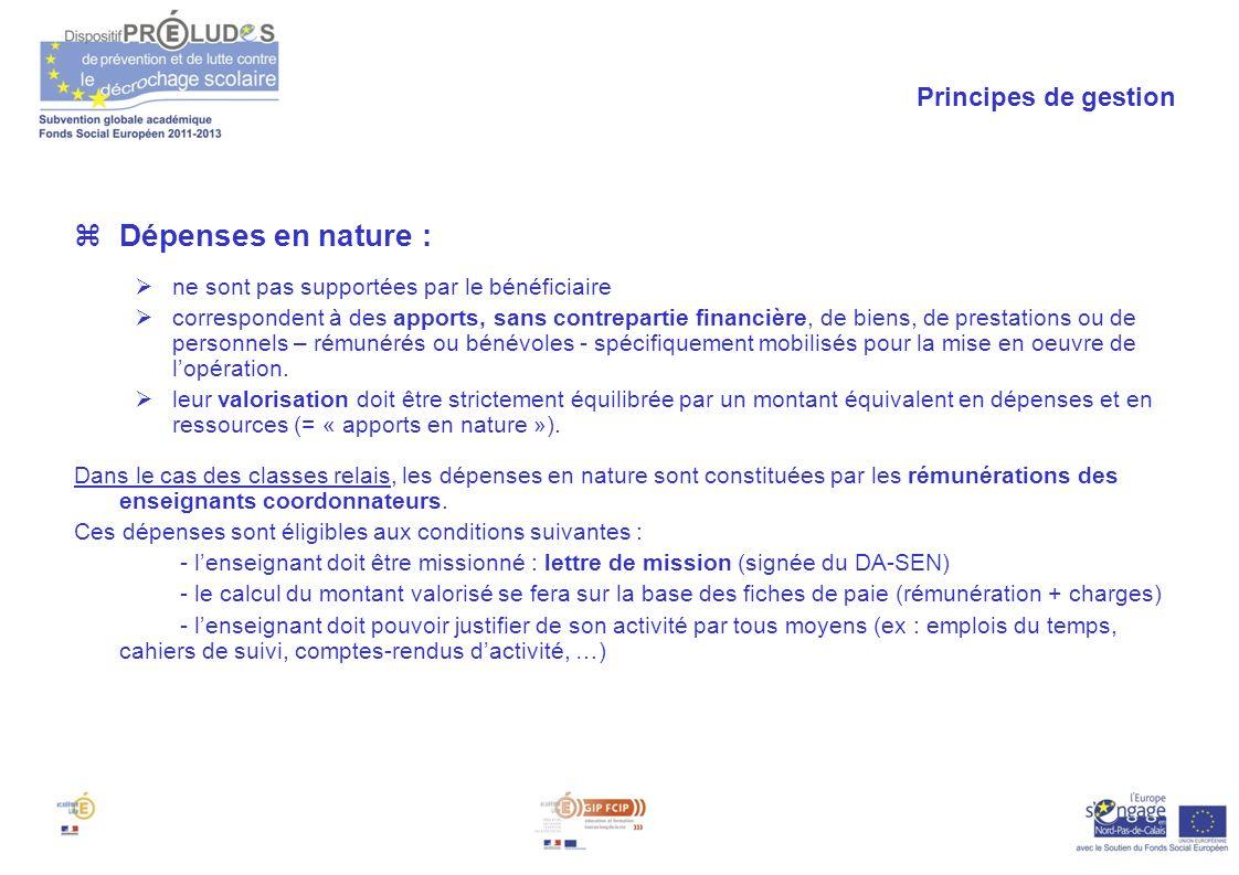 Dépenses en nature : Principes de gestion