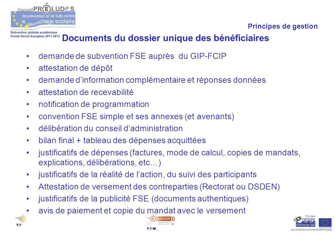Documents du dossier unique des bénéficiaires
