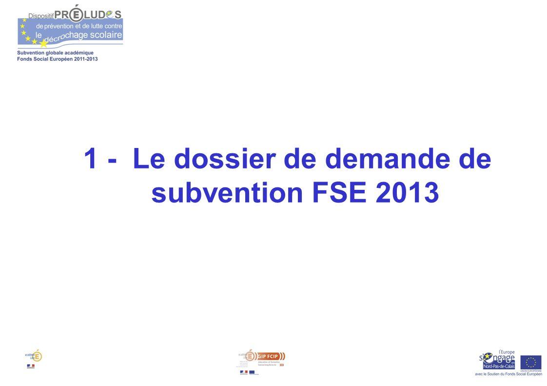 1 - Le dossier de demande de subvention FSE 2013