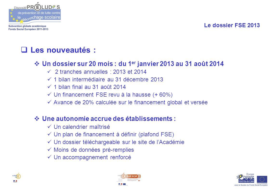Le dossier FSE 2013 Les nouveautés : Un dossier sur 20 mois : du 1er janvier 2013 au 31 août 2014.